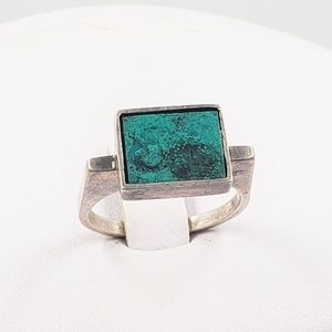 Raised Turquoise Enamel Inlay Sterling Silver Ring